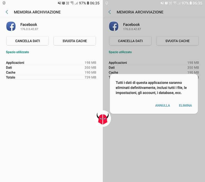 come risolvere il programma Facebook è stato arrestato Android Samsung