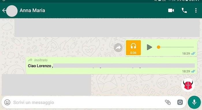 come vedere messaggi inoltrati WhatsApp etichetta inoltrato chat