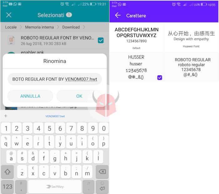 come cambiare font su Huawei senza root