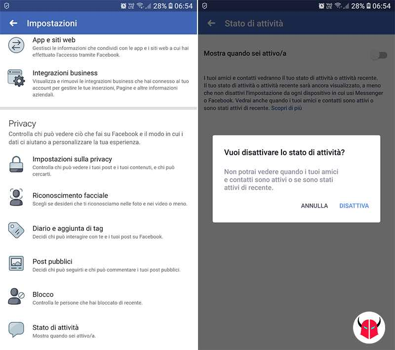 come disattivare stato online Facebook impostazioni stato attività
