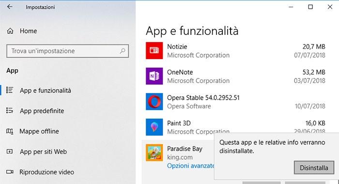 come disinstallare un programma da Windows 10 impostazioni