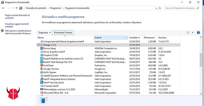 come disinstallare un programma da Windows 10 pannello di controllo