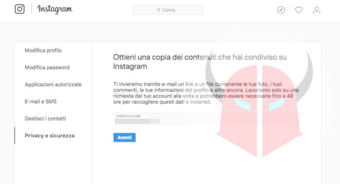 come eliminare account Instagram download dati