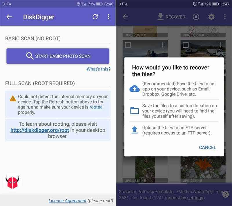 come recuperare foto cancellate da Android DiskDigger