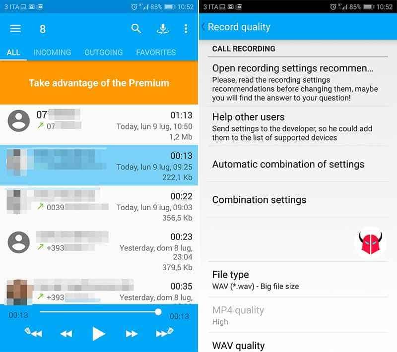 come registrare una telefonata con Android CallRec Free