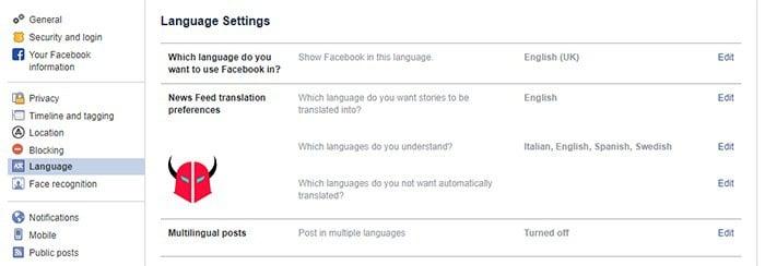 come ripristinare Facebook in italiano Computer
