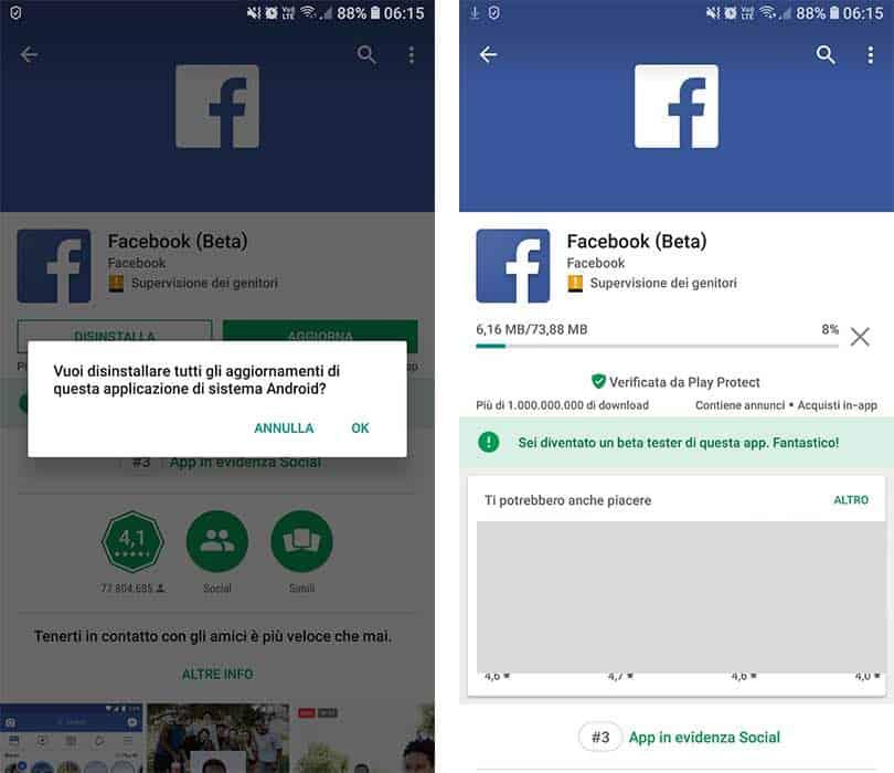 come ripristinare Facebook in italiano dopo un bug