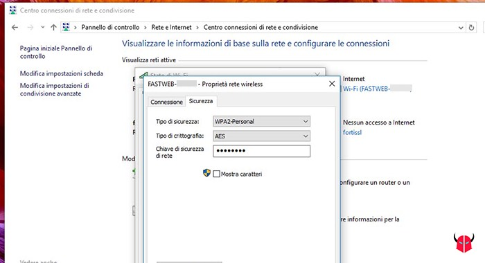 come trovare password WiFi protette Windows 10