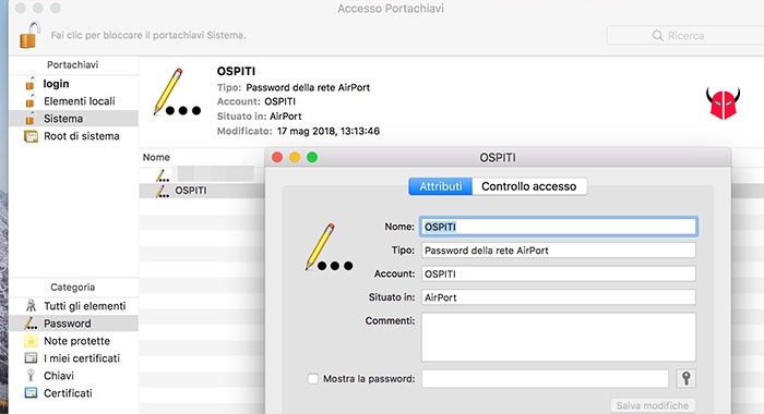 come trovare password WiFi protette macOS