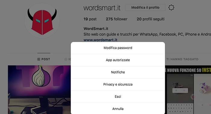 come uscire da account Instagram web