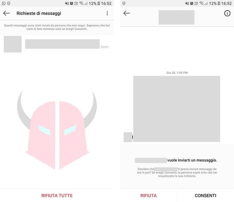 come vedere richieste di messaggi Instagram Direct utenti che non ti seguono