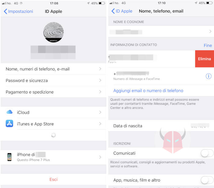 come cambiare email su iPhone ID Apple