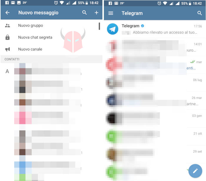 come fare chat anonime Telegram Android