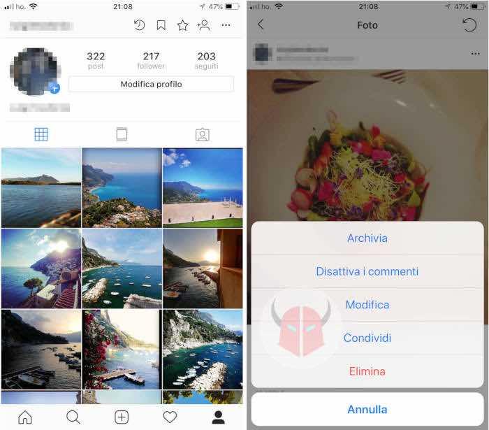 come non far vedere foto Instagram funzione archivia