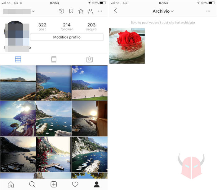 come recuperare foto archiviate Instagram archivio smartphone