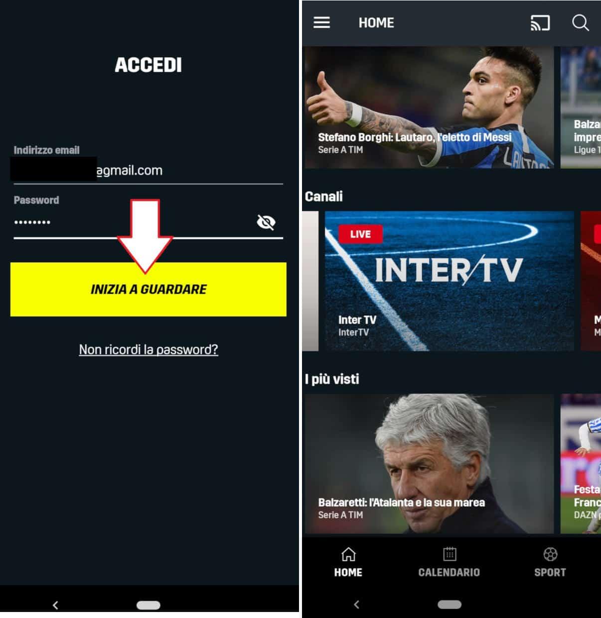 come vedere DAZN accesso da app