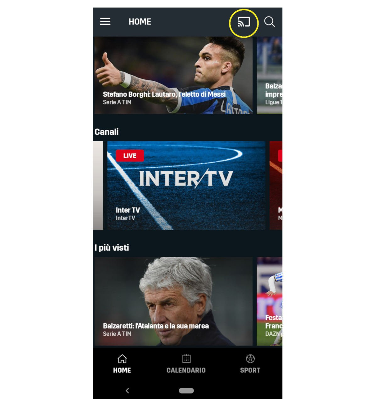 come vedere DAZN opzione Trasmetti su Chromecast