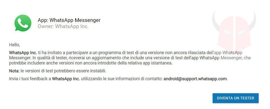 come aggiornare WhatsApp beta Android