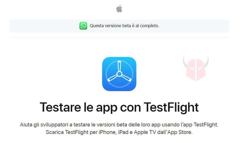 come aggiornare WhatsApp beta iPhone TestFlight questa versione beta è al completo