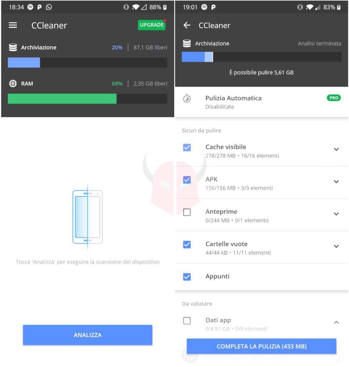 come aggiornare WhatsApp memoria insufficiente Android Ccleaner