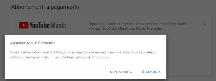 come annullare abbonamento YouTube Music conferma disattivazione