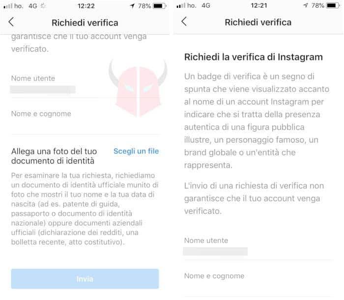 come avere spunta blu Instagram richiesta