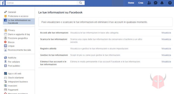 come cancellarsi da Facebook per sempre backup dati
