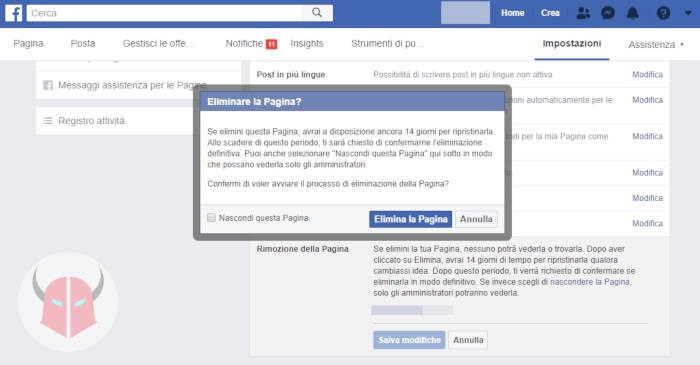 come eliminare una Pagina Facebook PC