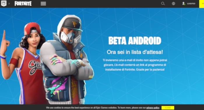 come installare Fortnite su Android download Epic Games