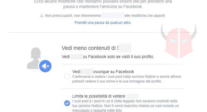come togliere amicizia Facebook pausa
