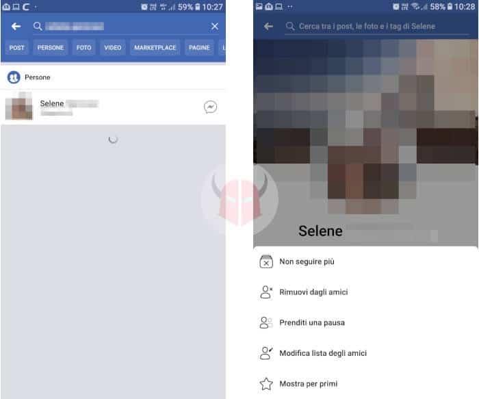 come togliere amicizia Facebook rimuovere amico cellulare