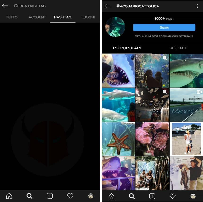 come vedere profili privati Instagram senza seguirli ricerca hashtag
