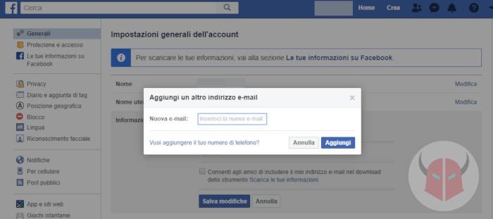 come cambiare email Facebook PC