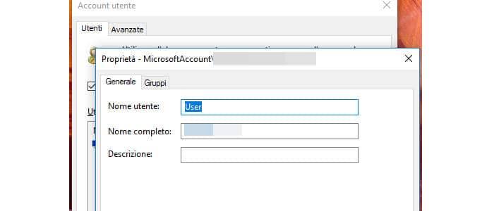 come cambiare nome utente Windows 10 account Microsoft locale