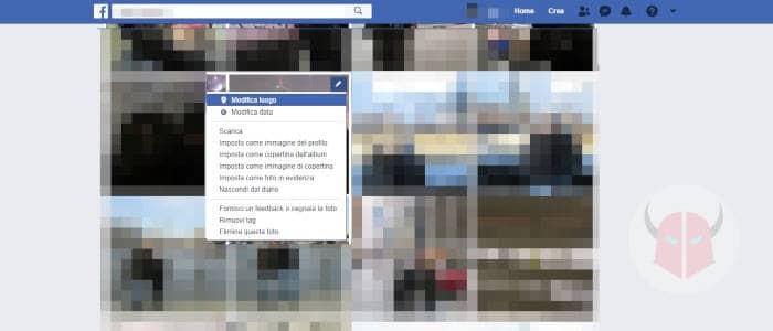 come cancellare foto Facebook PC