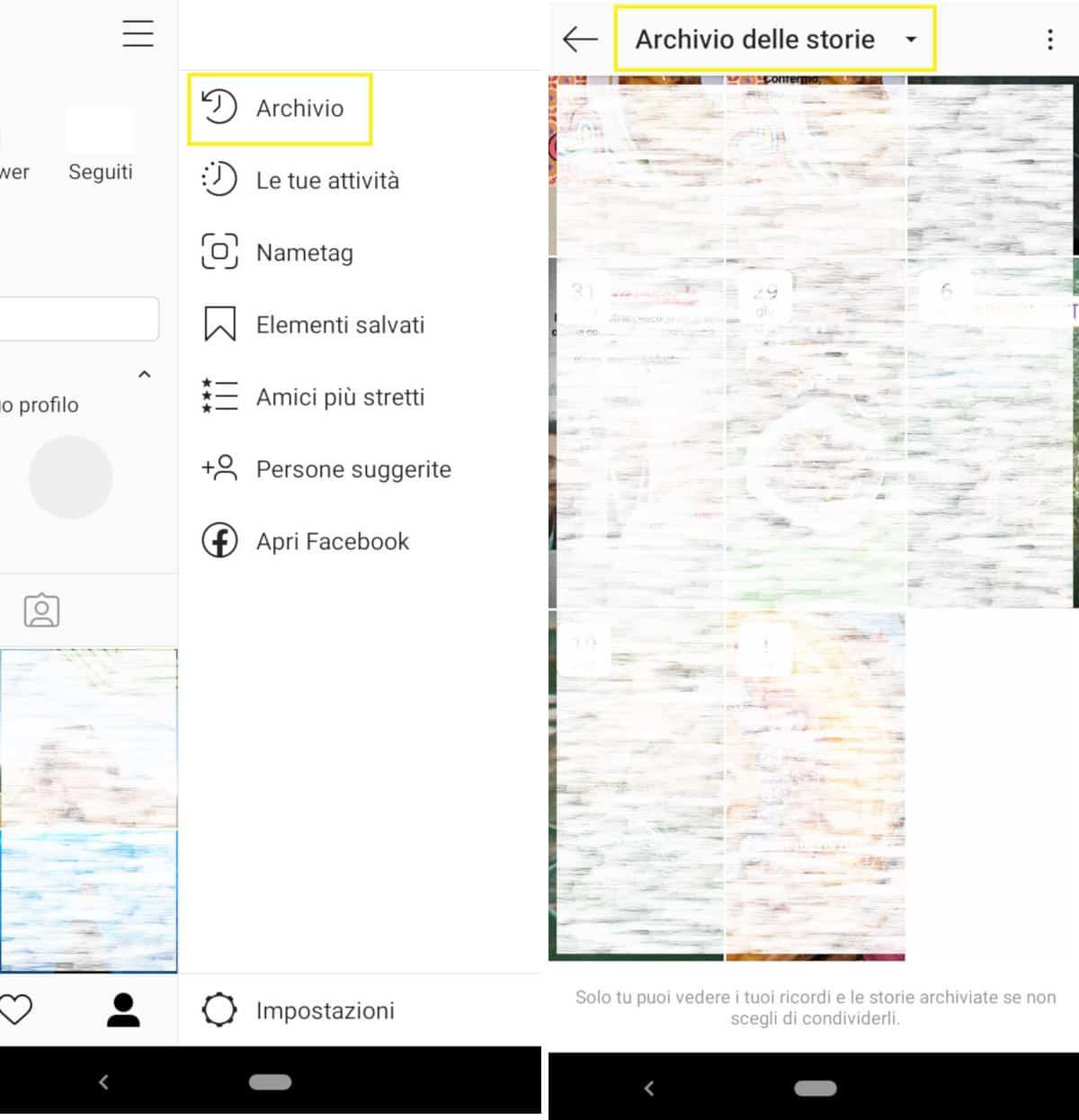 come condividere una storia su Instagram archivio storie