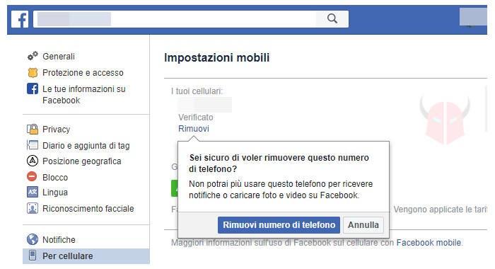 come togliere numero di telefono da Facebook computer