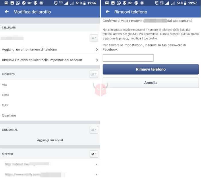 come togliere numero di telefono da Facebook smartphone