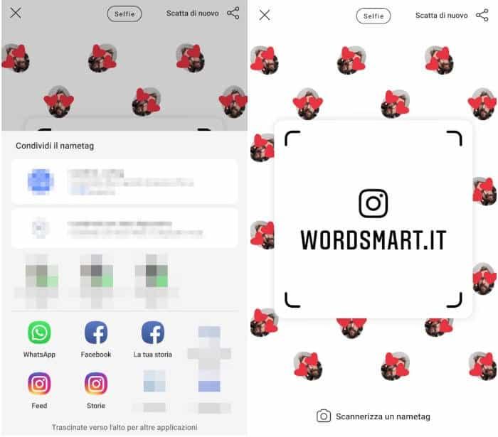 come usare Nametag Instagram condivisione