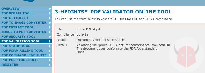 come vedere se PDF è PDF/A verifica online