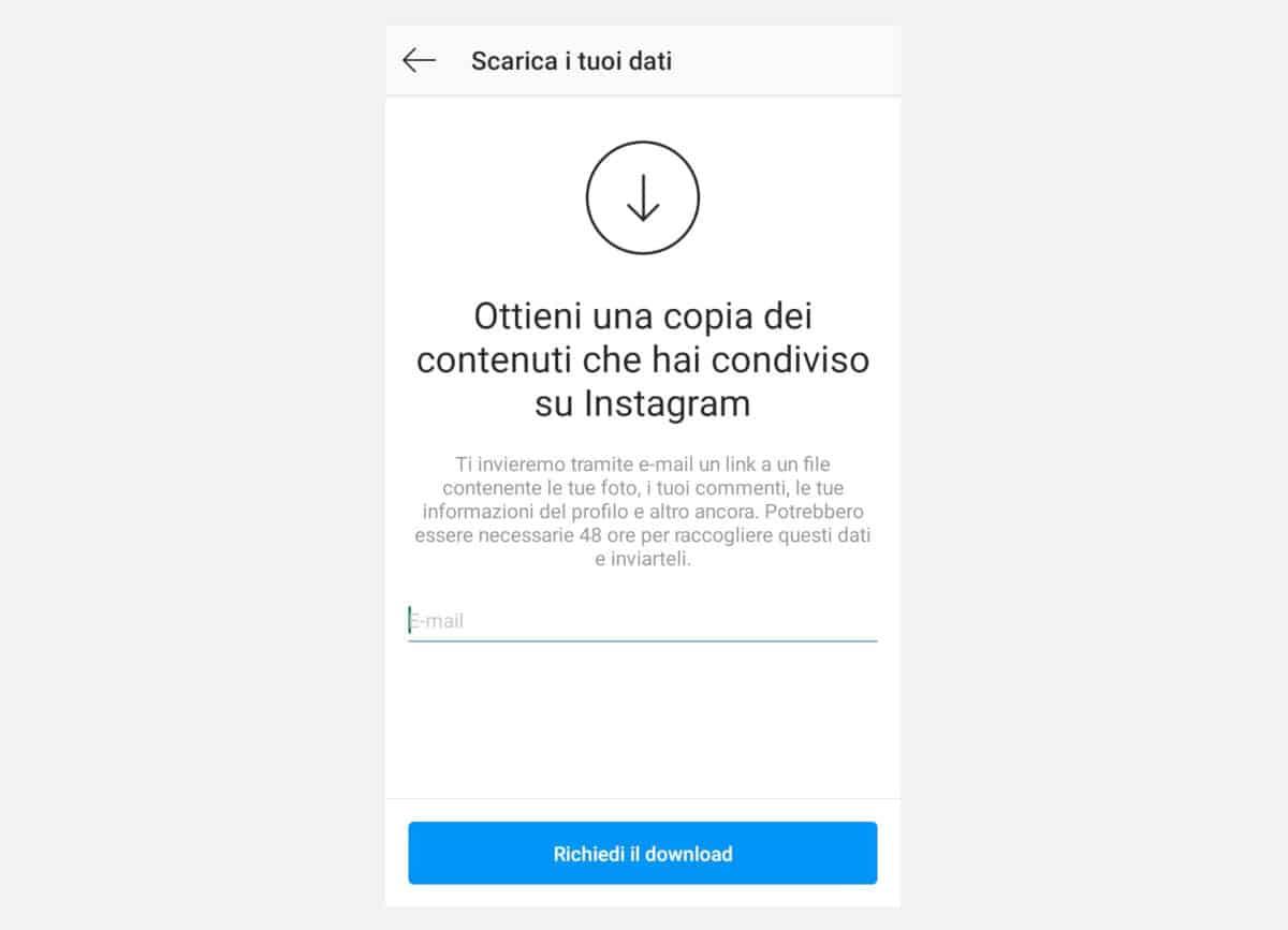 recuperare account Instagram copia dei contenuti condivisi