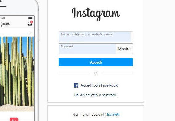 recuperare account Instagram opzione Accedi con Facebook