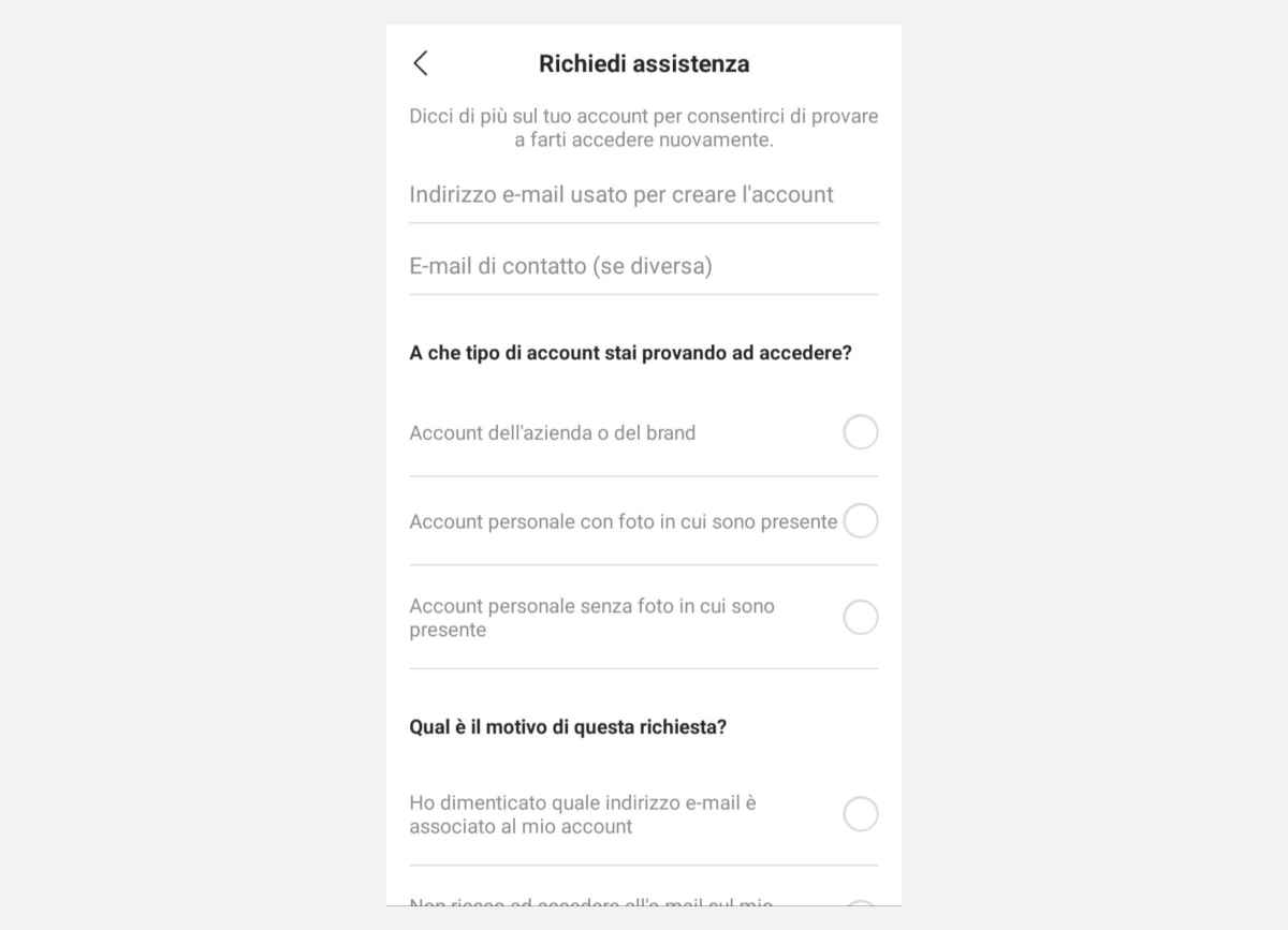 recuperare account Instagram richiesta di assistenza