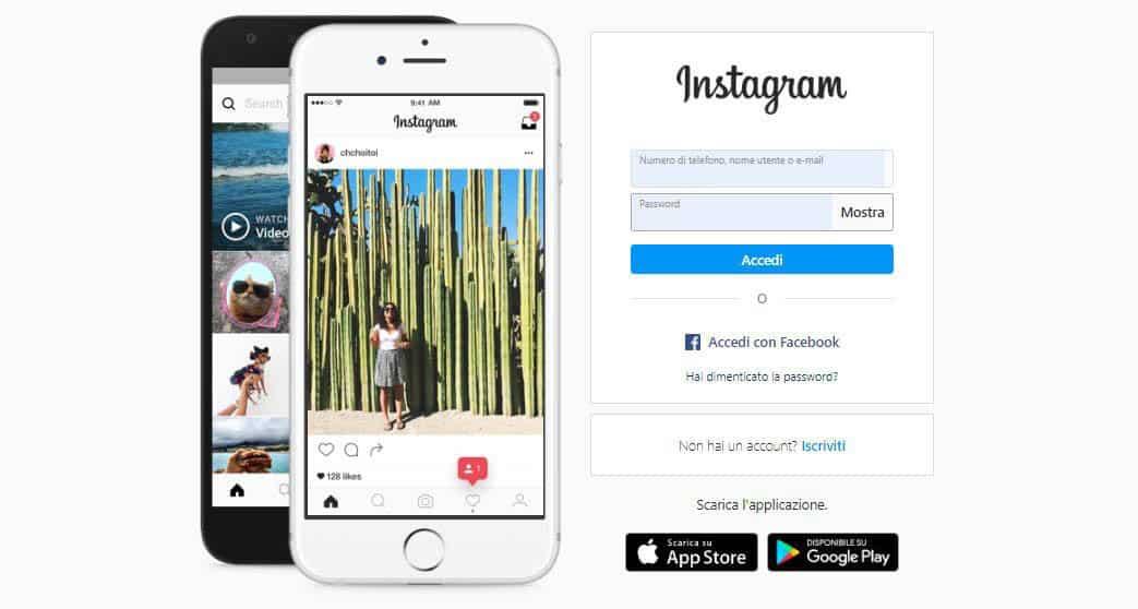 recuperare account Instagram schermata principale del social network