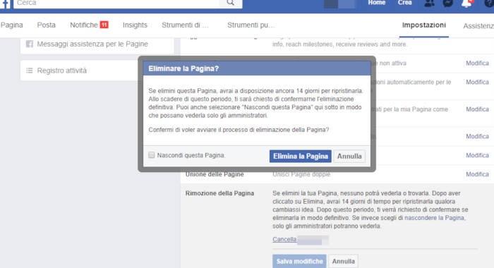 come chiudere Pagina Facebook eliminazione PC