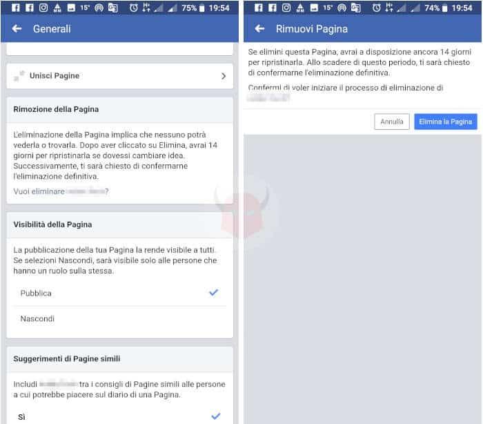 come chiudere Pagina Facebook eliminazione smartphone