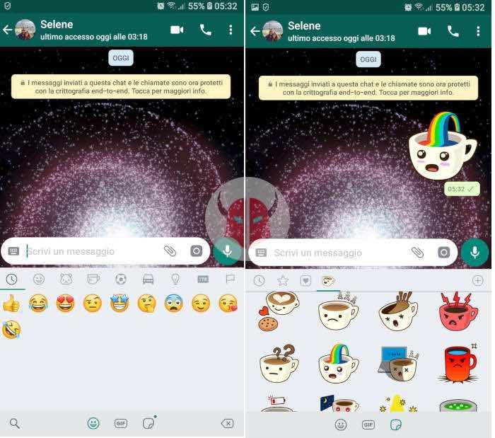come inviare sticker WhatsApp pulsante adesivi