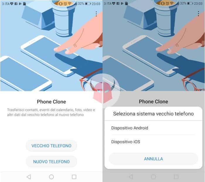 come trasferire dati da iPhone a Huawei app Phone Clone