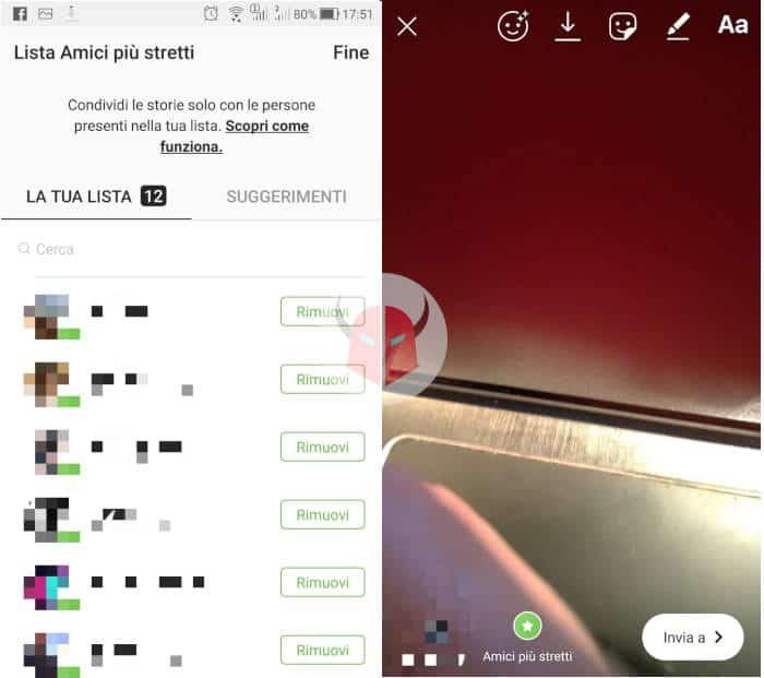 come creare lista amici più stretti Instagram condivisione Storia privata