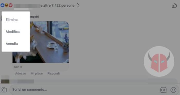 come eliminare commenti Facebook GIF e foto